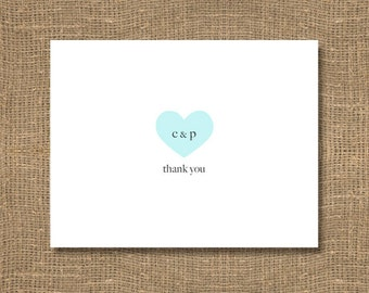 Personalized Wedding Stationery | Heart Thank You Card | Thank You Note with Initials | Thank You Bridal Shower Card | Thank You - 30 Pack