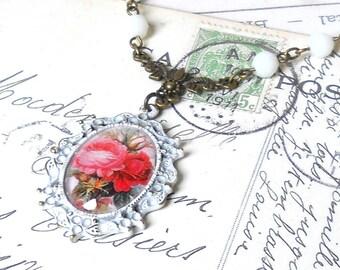 floral pendant necklace bronze pendant necklace flower pendant necklace bronze necklace roses necklace pink pendant necklace red pendant