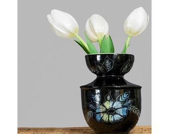 Vintage 1950s Vase • Black Floral Vase • Mid Century Modern Bud Vase • Porcelain Vase • Flower Vase • 50s Home Decor • Ceramic Vase