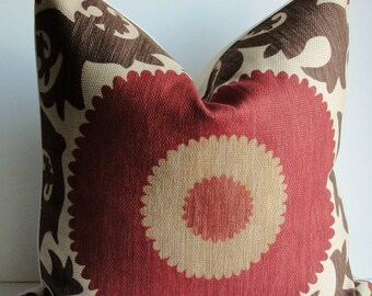 Decorative Suzani pillow cover - Fahri designer - Throw pillow - brown - rust - red - tan - accent pillow-both sides or front only-
