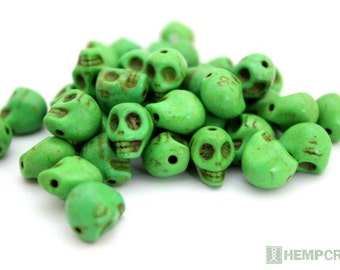 Skull Beads, Tiny Green Day of the Dead Stone Beads, Halloween Beads, 24pc