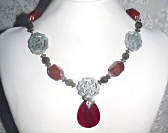 Blood Red Teardrop Necklace