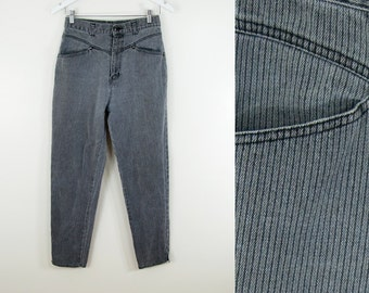"80s Vintage Faded BLack Denim Textured Stripe High Rise Tapered Leg Jeans (M; 28"" Waist)"
