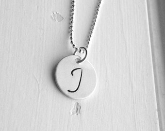 Initial Necklace, All Letters Available, Letter J Necklace, Letter J Pendant, Initial Jewelry, Charm Necklace, Sterling Silver Jewelry