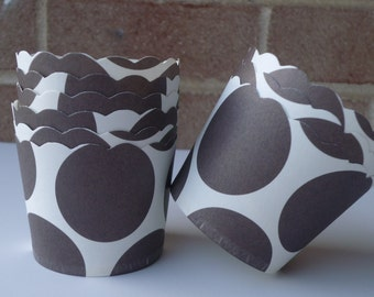 24  Chocolate Brown and white polka dot   paper baking,  nut, portion, snack, dessert cups