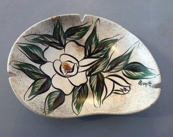 1960s Handmade Flower Large Ashtray