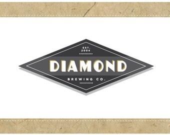 Custom Logo Design - PreDesigned PreMade Logo - Vector Logo - OOAK Logo - DIAMOND Logo Design - Vintage Logo - Retro Logo - Diamond Logo