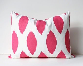 Pink & White ikat Decorative Designer Lumbar Pillow Cover Accent Cushion magenta hollywood regency raspberry spot Valentine's Day fuchsia
