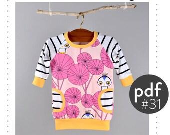 Baby dress pattern, faux pockets // sweatshirt dress pdf // photo tutorial // sizes 0M-6T // #31