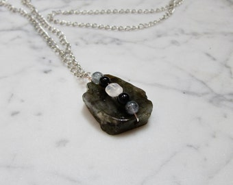 Altered States - Natural Labradorite, Rainbow Moonstone, Rainbow Obsidian and Kyanite Protection Chakra Pendant with Silver Chain