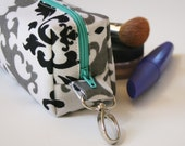 Mini Box Zipper Pouch with Swivel Clip, Black, White, Gray Damask with Turquoise