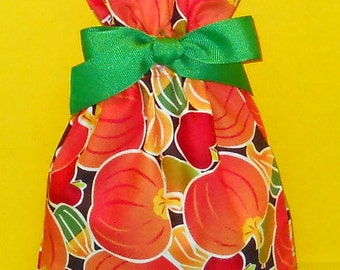 Pumpkins, Apples, and Gourds Small Fabric Gift Bag - Fall Decorations, Thanksgiving, Autumn, Orange, Green, Red, Yellow, Brown, Food, Fruit