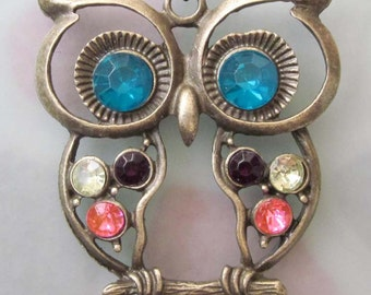 Multi-Color Acrylic Diamond Inlaid Alloy Metal Blue Eye Owl Pendant Necklace Chain 720mm x 52mm  T2491