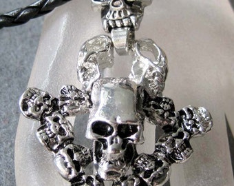 Alloy Metal Fifteen Skull Heads Pendant Necklace Bead 68mm x 42mm  T2211