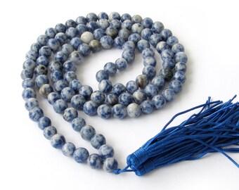 Tibet Buddhist 108 Blue Point Stone Prayer Beads Meditation Yoga Mala Necklace  ZZ111  8mm