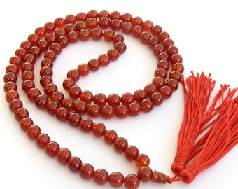 8mm Round Red Agate Gemstone Meditation Yoga Tibet Buddhist 108 Prayer Beads Mala Necklace  ZZ179