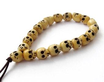 10mm x 9mm Carved Skull Ox Bone Prayer Beads Wrist Mala Bracelet Hand String  T3144