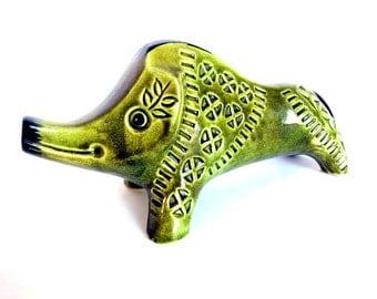 Green Mid Century Ceramic Boar
