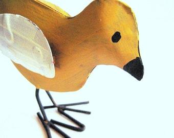 Mustard Tin Bird, Tin Bird Art, Painted Tin Bird, Boho Bird Art, Metal Bird, Bird Home Decor, Painted Bird, Bird Art, Boho Bird, Mustard