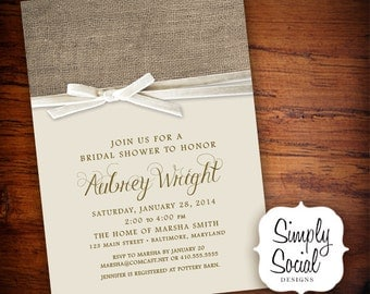 Rustic Chic Bridal Shower Baby Shower Invitation with Creme Velvet Ribbon