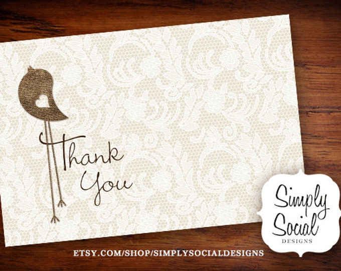 INSTANT DOWNLOAD Burlap and Lace Baby Bird Thank You Card