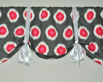 Tie up Valance in Ikat Domino Flamingo  Ready to ship