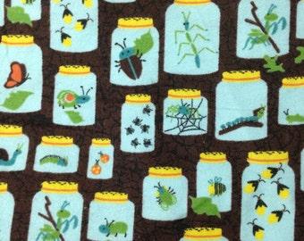 Bug Jars - Brown - Flannel  - Fat Quarter