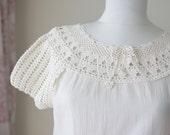 Crochet blouse womens, Summer clothes, Cotton clothes, Lace crochet top, Summer top for women, Cream blouse, Cotton blouse for women