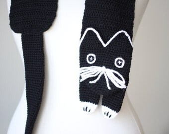 Black cat scarf, Black Crochet Scarf, Kitty Scarf black, Cat black neckwarmer, Black kitty scarf, Animal scarf women, black scarf