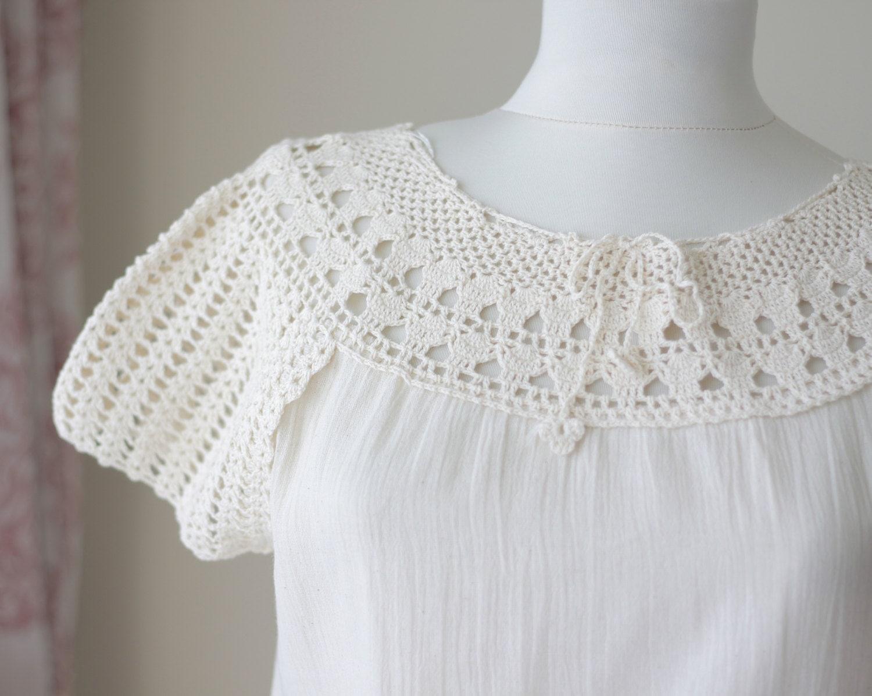 Crochet Summer Blouse Pattern - Lace Henley Blouse