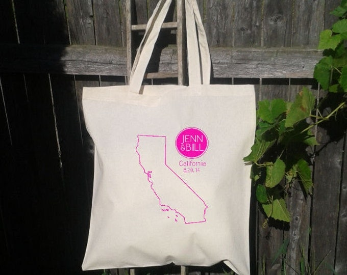 Wedding Welcome Tote - Wedding Bag - Outline of State with Names and date - You choose State