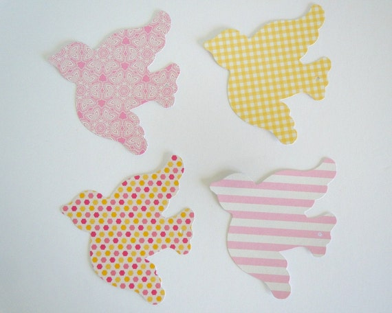Pink and Yellow Bird Embroidery Thread Cards, Spools / Set of 4