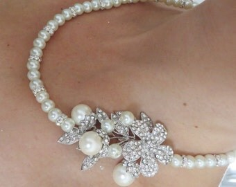 Bridal Pearl Necklace-Swarovski pearls and rhinestone Necklace  Weddings, Jewelry, Sterling Silver, Rinestone