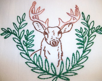 """Dish Towel Large Towel 33"""" by 38"""" White Cotton  Large Deer Hand Embroidered"""