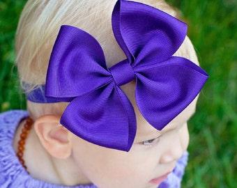 Baby Headband, Set of 4, XL Pinwheel Grosgrain Boutique Baby Headband Bow, ANY COLOR,  Baby Bow Headband, Boutique Headband