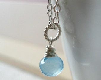 Light Blue Chalcedony Minimalist Silver Necklace