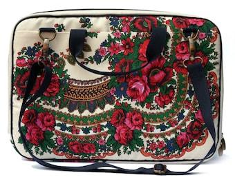 "Laptop Bag, 17"" laptop case, fabric laptop bag, milk white floral laptop bag"
