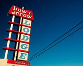 Bow and Arrow Lodge - Route 66 Motel Sign - Albuquerque - Retro Home Decor - Neon Sign - Blue and Red - Fine Art Photography