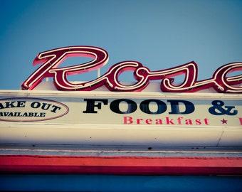 Rosebud Diner Vintage Somerville Neon Sign - Davis Square - Retro Kitchen Art - Housewarming Gift - Fine Art Photography