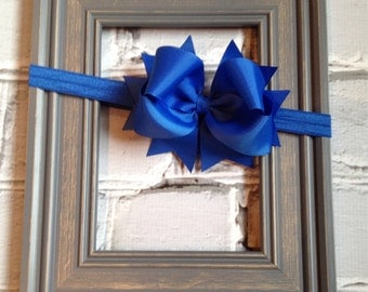 Boutique Baby Girls Royal Blue Elastic Headband with Royal Blue Large Hair Bow Perfect for Photo Props birthdays Holidays