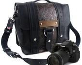 "10"" Black and Brown Paisley Napa Ashbury Leather Camera Bag"