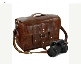 "14"" Caramel Newport Italian Leather Camera Bag"