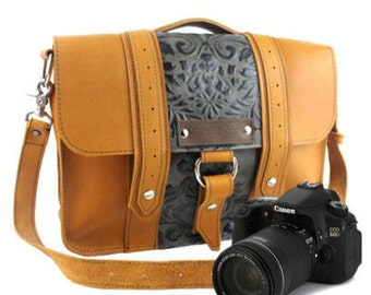 "14"" Sunrise and Green Paisley Newport Ashbury Leather Camera Bag"