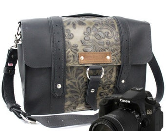 "15"" Black and Green Paisley Ashbury Sonoma Leather Camera Bag"