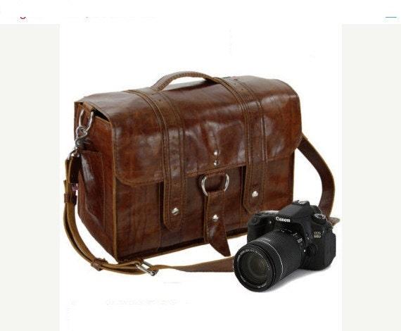 """14"""" Caramel Newport Italian Leather Camera Bag"""