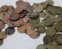 "15 Copper Or Brass 1/2"" Metal stamping blanks with Jump Rings"