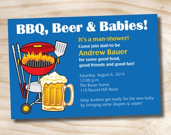 MAN SHOWER bbq, beer and babies Diaper Party Invitation - Printable Digital file or Printed Invitations