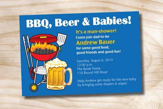 man shower bbq beer and babies diaper party invitation, Party invitations