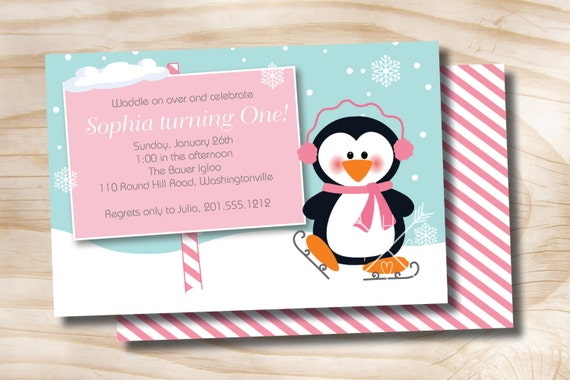 Penguin party winter wonderland birthday party invitation photo il570xn filmwisefo Image collections