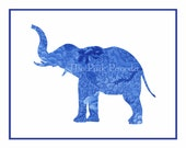 Navy Blue Chinoiserie Floral Elephant Silhouette Facing Left Giclee